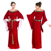 Queen Costume Women Halloween Fancy Party Dress Carnival Sexy Cosplay Red Luxurious Outfits