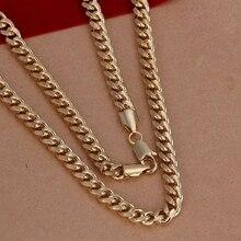Оптовая продажа 925 ювелирных изделий посеребренные 7 мм золотой боком ожерелье, Новинка подвески ожерелье, Бесплатная доставка SMTN238