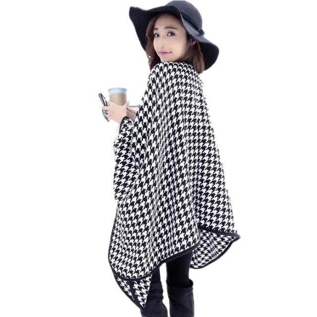 New Women Scarves Shawl Houndstooth Poncho Cape Coat Blanket Wrap Muffler Thick Warm Cloak Wool Shawl Plaid