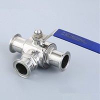1 1/4 32mm 304 Stainless Steel Sanitary Ball Valve 3 Three Way 1.5 50.5mm Tri Clamp Ferrule Type For Food Homebrew Diary