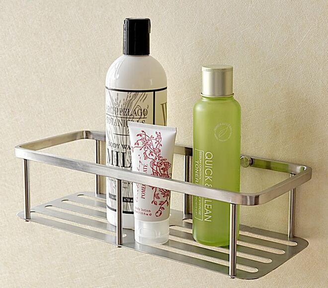 Free Shipping 304 Stainless Steel Bathroom Brushed Nickel Basket Bathroom  Shelves Frame Shelf Basket SUS015