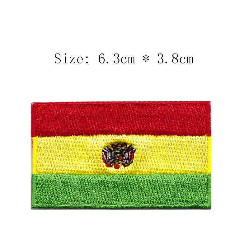 Bolivie broderie drapeau patch La Paz ville île monde pays emblème pour moto club manteau fer sur coudre gauche poitrine chemises