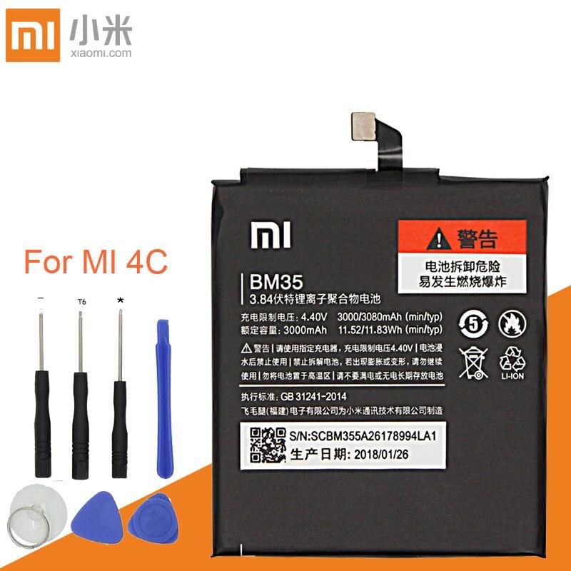 Xiao mi Original Replacement Battery BM35 For Xiaomi Mi 4C Cellphone Battery 3000mAh Rechargeable battery