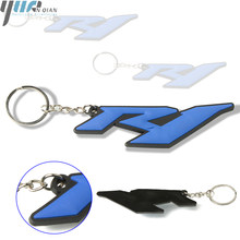 0bb9836b66cf Para yamaha YZF R1 Accesorios Moto 3D de goma suave de la llave de anillo  azul motocicleta llavero para yamaha YZF R1 azul color