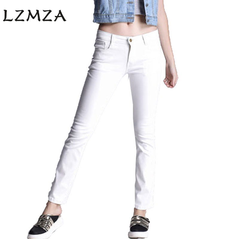 LZMZA 2017 New Stretchy white Jeans Woman Denim Pants Trousers For Women Casual Jeans Pants Plus Size S-5XL plus size pants the spring new jeans pants suspenders ladies denim trousers elastic braces bib overalls for women dungarees
