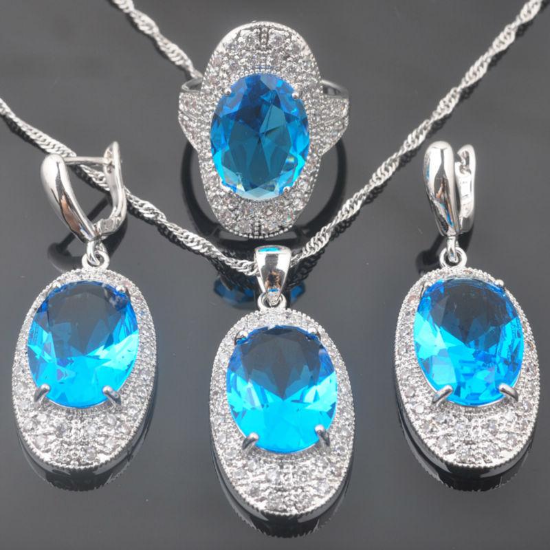 100% Wahr Fahoyo Wunderschönen Himmelblau Zirkonia Weiß Cz Frauen 925 Sterling Silber Schmuck Sets Ohrringe/anhänger/halskette/ringe Qz0288