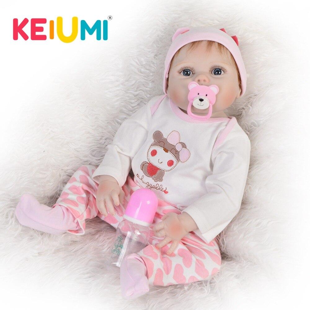 KEIUMI 23 Zoll Full Silikon Vinyl Reborn Baby Puppe Realistische Mädchen Puppen Lebendig Echt Baby Lebensechte Geburtstag Weihnachten Geschenk-in Puppen aus Spielzeug und Hobbys bei  Gruppe 1