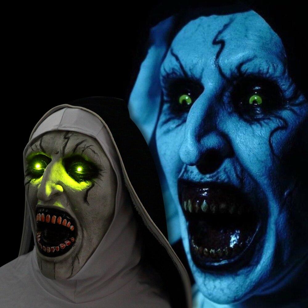 Die Nonne Maske Horror Maske Mit Scary Stimme Mit Led licht Cosplay Valak Latex Masken Mit Kopftuch Helm Halloween Party requisiten