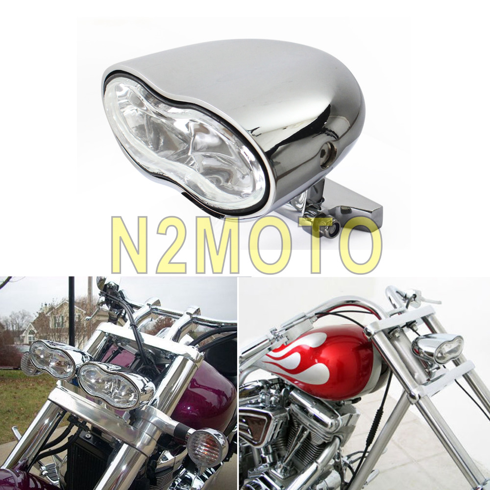 Custom Billet Chrome Dual Headlight Wave Halogen For Harley Motorcycle Universal