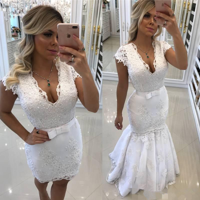 Detachable Trains For Wedding Gowns: DZW359 2019 Mermaid Lace Wedding Dresses With Detachable