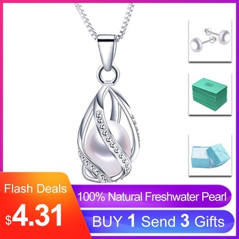 Classic Special Design 8-9mm Natural Pearl Cage Pendant Necklace with 45cm Silver Chain 4 colors Wholesale Casual Jewelry