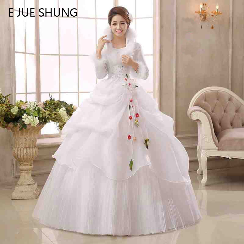 E jue shung white organza long sleeves cheap wedding for Casual winter wedding dresses with sleeves