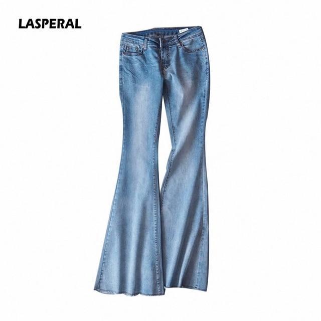 Lasperal 2017 Autumn Women Long Pants Jeans Office Lady Flare Slim Bodycon Trouser Mid