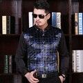 Alta Qualidade Dos Homens de Moda Outono Veludo Camisa de Vestido Formal do Negócio Dos Homens Camisa Xadrez de Manga Longa