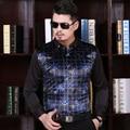 High Quality Mens Autumn Fashion Velvet Dress Shirt Formal Business Men Long Sleeve Plaid Shirt