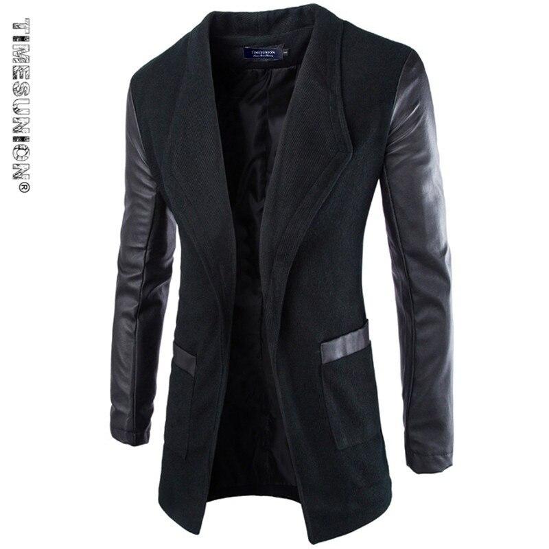 Long Trench Coat Men Cotton Men's Winter Jacket Stand Collar Brand Asian Size M-XXL Cardigan Trenchcoat Slim Fit Homme Black