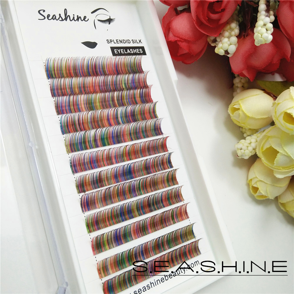 12f804f1716 Seashine 12lines/tray mixed volume lashes rainbow color eyelash Faux mink  individual eyelash extensions private label-in False Eyelashes from Beauty  ...