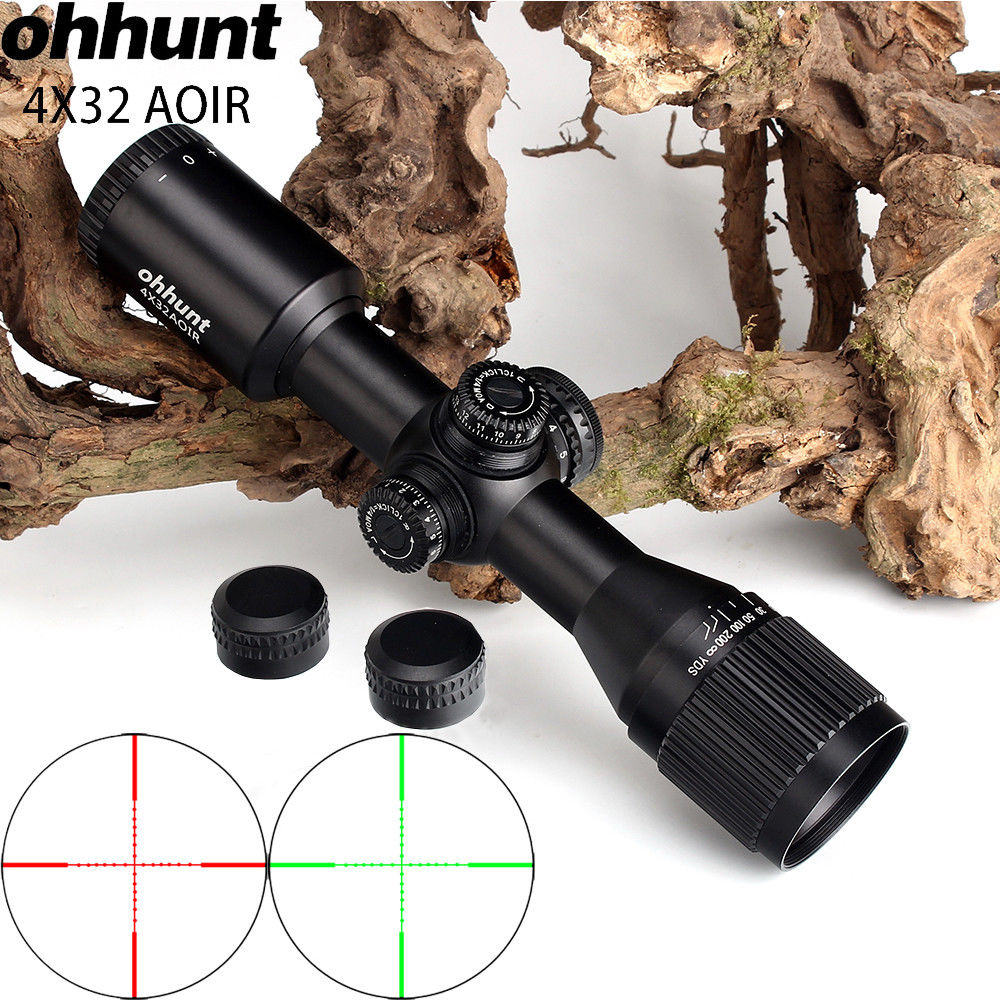 ohhunt 4X32 AOIR Compact Hunting Tactical Wide Angle Riflescopes Mil Dot Illuminated Reticle Turrets Reset Optics Rifle Scope leapers utg 3 9x32 aolmq compact mil dot reticle hunting optics riflescopes locking w sun shade