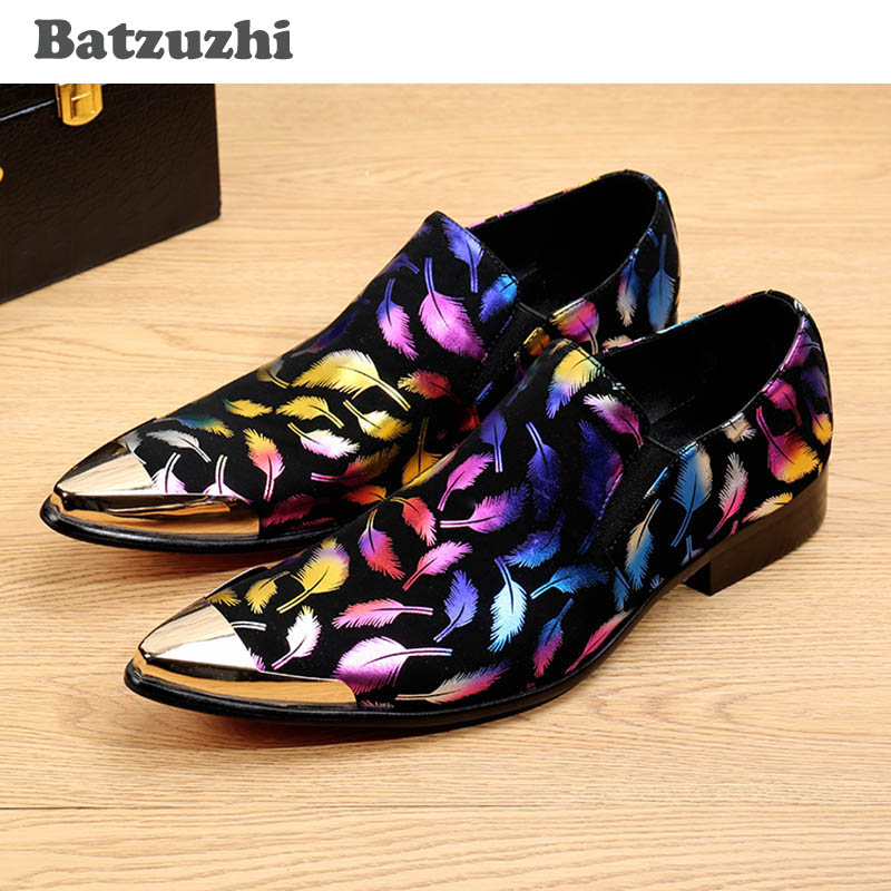 все цены на Batzuzhi Italian Style Men Shoes Black Suede with Colorful Print Feathers Gold/Silver Point Metal Toe Men's Dress Shoes Wedding