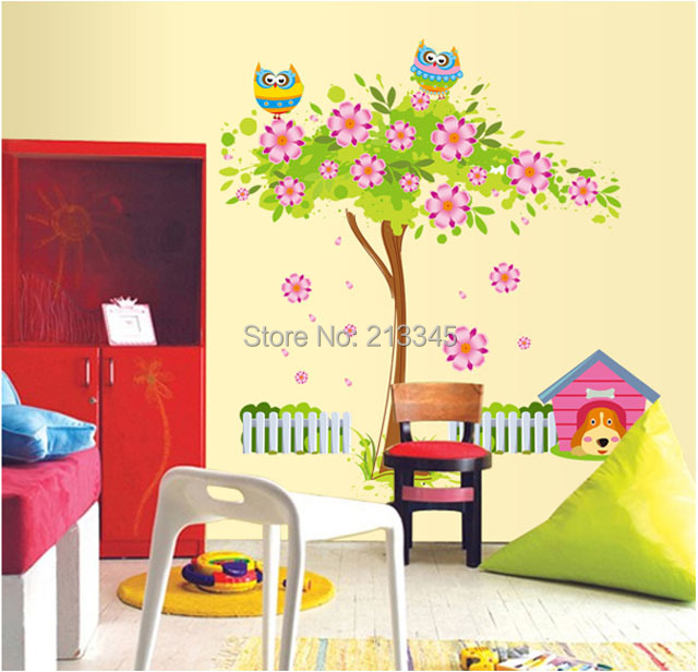 Fundecor] new removable cartoon wall sticker dog home and colorful ...
