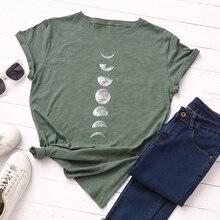 купить Plus Size Women Loose Casual Tops New Moon Planet Printed T Shirt Cotton O Neck Short Sleeve Summer T-Shirt Tops M-4X по цене 401.21 рублей