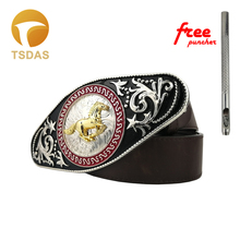 Cool 3D Lace Gold Horse Mens Belt Buckle With 78*173mm Metal Cowboy Head Fit 4cm Wide