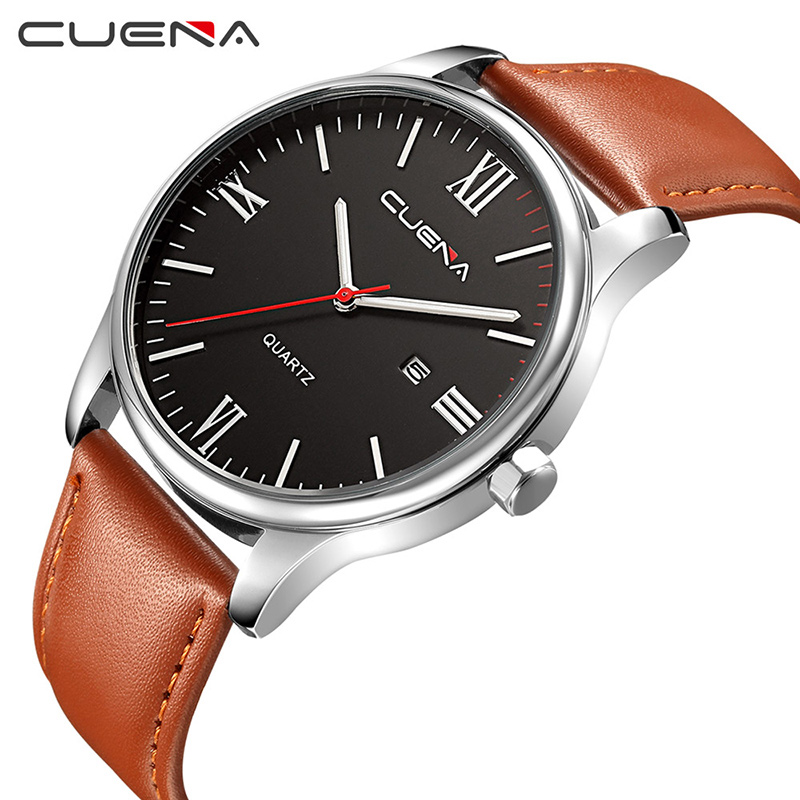 CUENA Fashion Men Quartz Wrist Watch Mens Watches Top Brand Luxury Genuine Leather Waterproof Man Wristwatches Relogio Masculino men fashion quartz watch mans full steel sports watches top brand luxury cuena relogio masculino wristwatches 6801g clock