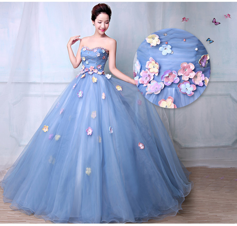 Blue Wedding Dresses 2019: Sky Blue Ball Gown Prom Dresses 2019 Beaded Flowers Puffy