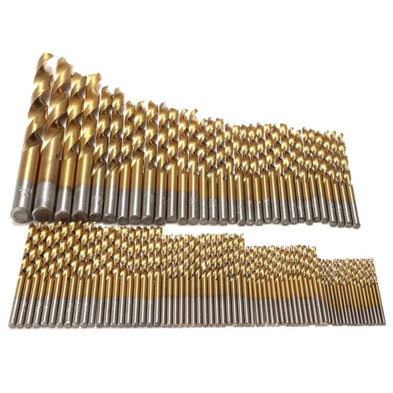 цена на WSFS Hot Sale 99pcs Titanium Coated High Speed Steel Serratula Drill Bit Set Tool 1.5mm - 10mm