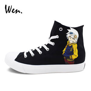 Wen Mens Womens Sport Shoes Soul Eater Hand Painted Black Canvas Sneakers a0d9260a9281