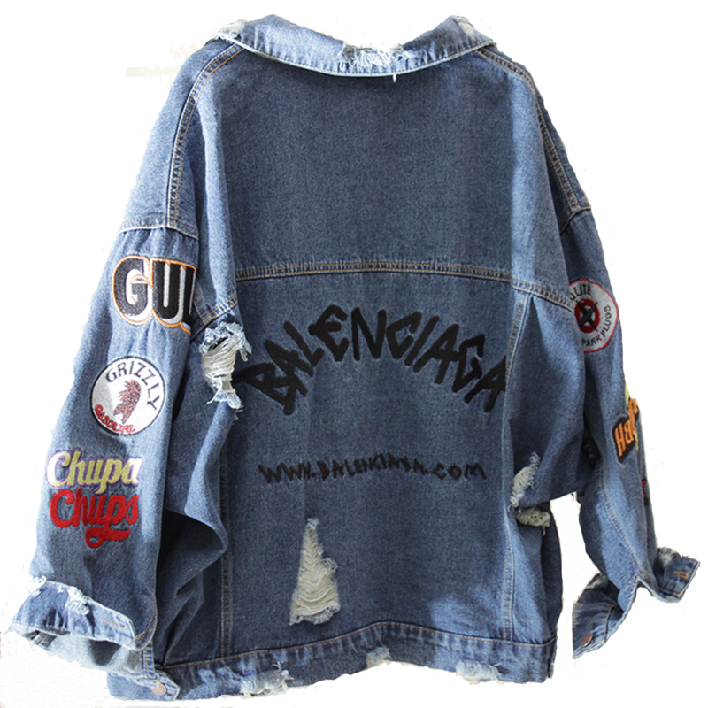 2019 BF Harajuk Loose Denim Jacket Women Embroidery Jeans Coat Hip Hop Hole Single Breasted Jeans