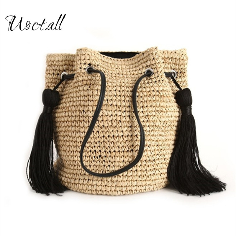 2018 Famous Design Magic Summer Beach Bag Women Ladies Shopping Bag Fashion Straw Bags Tassel Shoulder Bag Bolsas