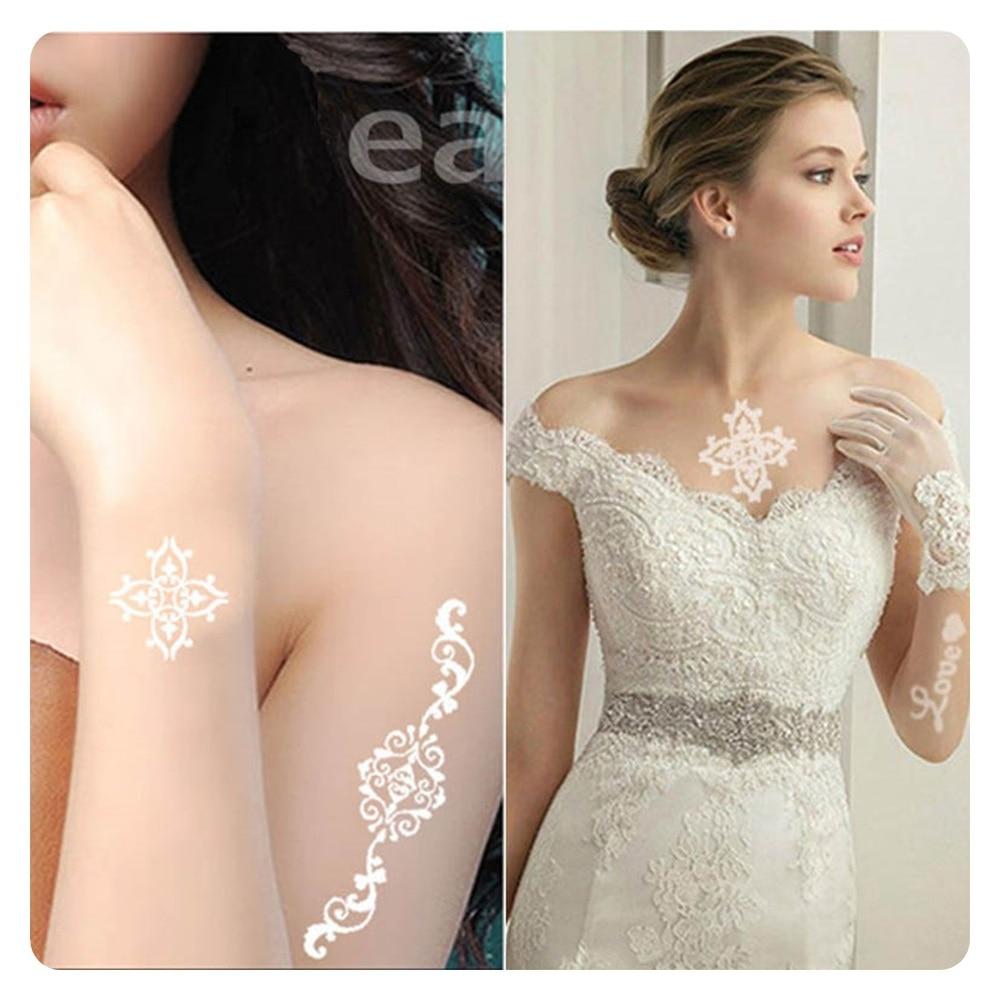 1pcs Bijela tetovaža cvijet cvijet Vodootporan privremene tetovaže - Tetovaže i tjelesna umjetnost - Foto 5