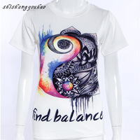 Women Cotton Classic T-Shirt 2017 New Summer Round Neck Short Sleeve Tees Fashion Print Tops Lady Sexy Cute Personality T-Shirts