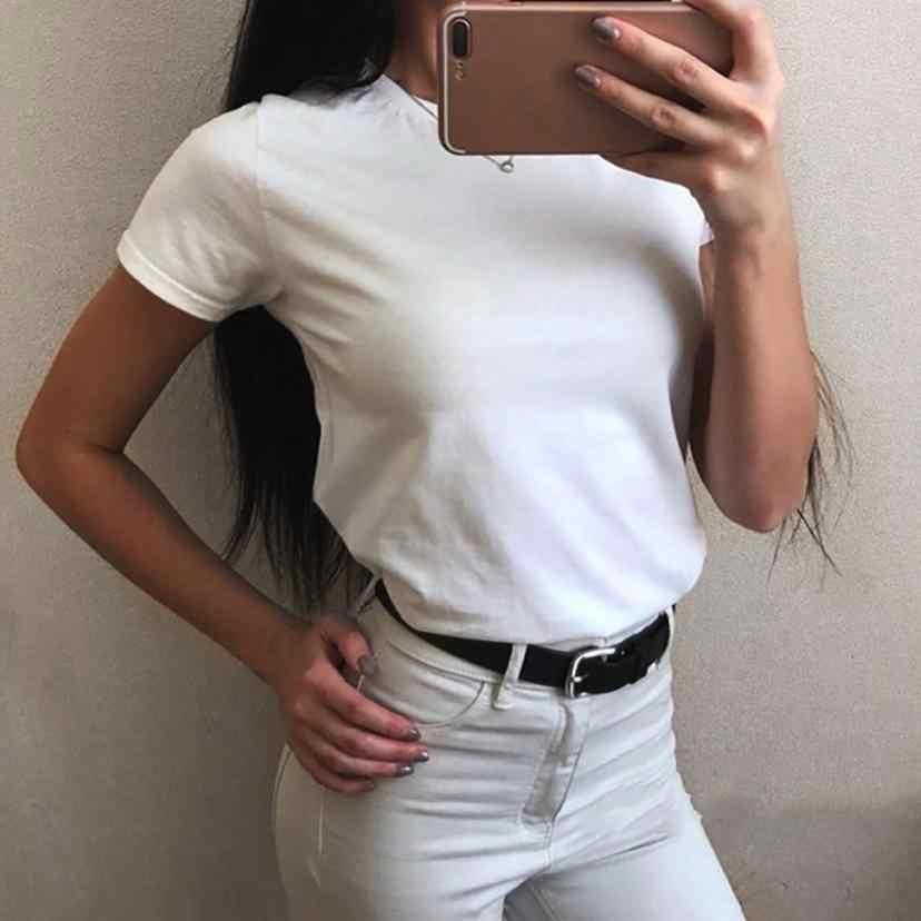 Thời trang Nữ Trắng Mùa Hè Áo thun nữ Cổ Tròn Màu Nguyên Chất Thun Áo Áo Rời Gợi Cảm 2018 camiseta Feminina # F