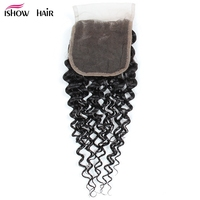 Ishow Peruvian Kinky Curly Closure With Baby Hair Non Remy Hair 4 4 Inch Lace Closure