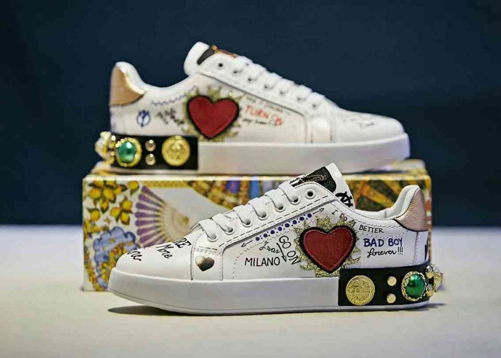 Zapatos De Mujer Shoes Woman White Chunky Platform Sneakers Beaded Graffiti Low Top Wedge Lace Up Female Tenis Feminino