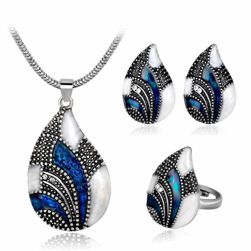 New High Quality Blue Zircon Vintage Fashion Lady Necklace Earrings Ring Water drops Set