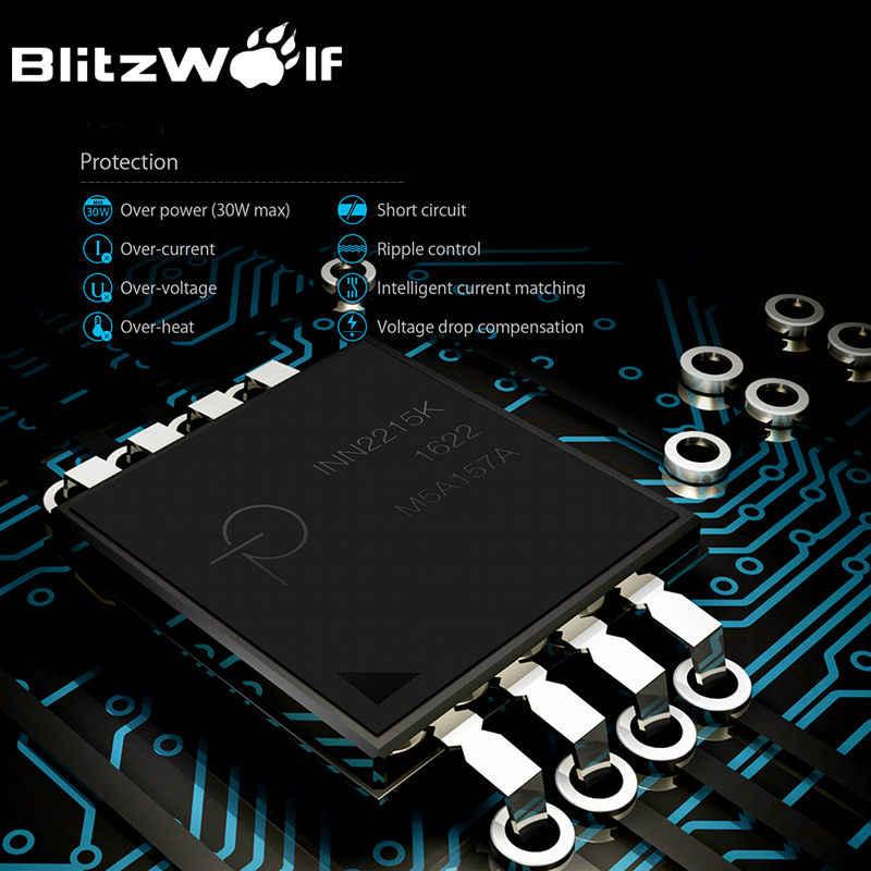 Blitz Wolf QC3.0 + 2.4A 30 W Dual USB Charger Ponsel Ponsel Cepat Adaptor Uni Eropa Perjalanan Dinding Charger untuk iPhone 8 8 Plus X