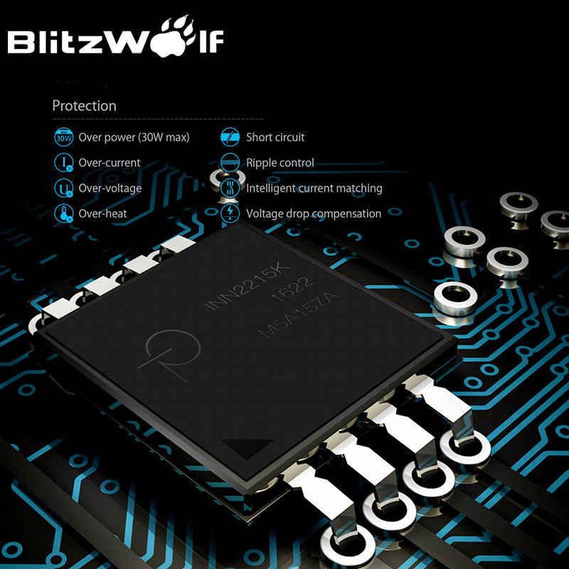 Blitz Wolf QC3.0 + 2.4A 30W Dual USB Charger Ponsel Ponsel Cepat Adaptor Uni Eropa Perjalanan Dinding Charger untuk iPhone 8 8 Plus X