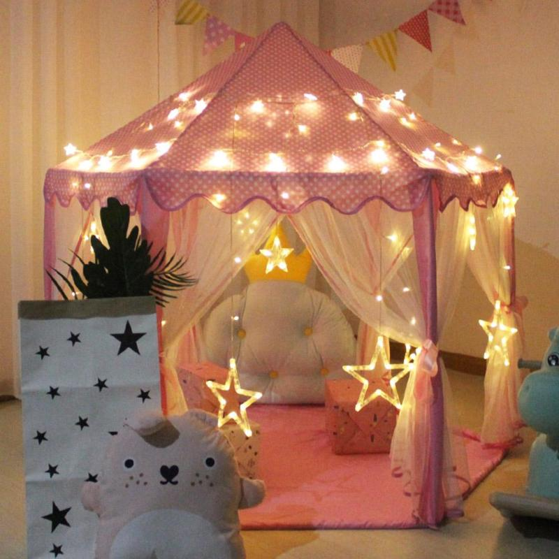 Portable Children Indoor Folding Play Toy Tent Sweet Little Girl Princess Pink Castle Tents for Kid Game Castle Playhouse