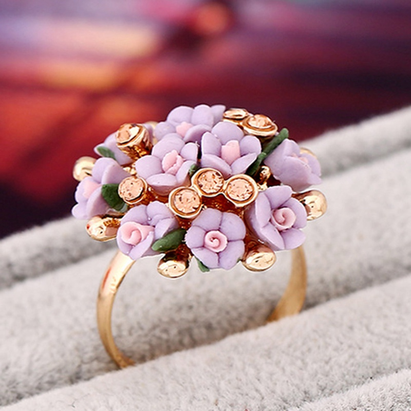 Fashion Beautiful Ceramic Flower Ring For Women Adjustable Wedding Rings Jewelry 8 Color ...