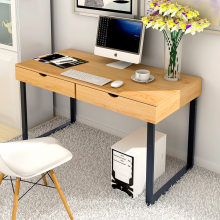 Home Desktop PC Table with 2 Drawers Simple Creative Computer Stand Large Size Writing Desk MDF+Steel(China)