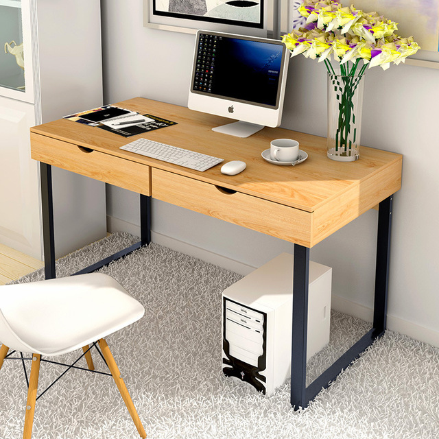 Home Desktop Pc Table With 2 Drawers Simple Creative Computer Stand