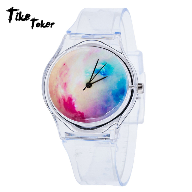 TIke Toker,Women Watchs Crystal Transparent Silicone Men Watch Bracelet Digital