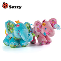 Sozzy Bébé Éléphant En Peluche Jouet Hochet de Musique Sonne Son Pli 0 M +