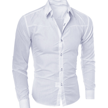 Formal Cotton Slim Fit Male Long Sleeve Shirts 1
