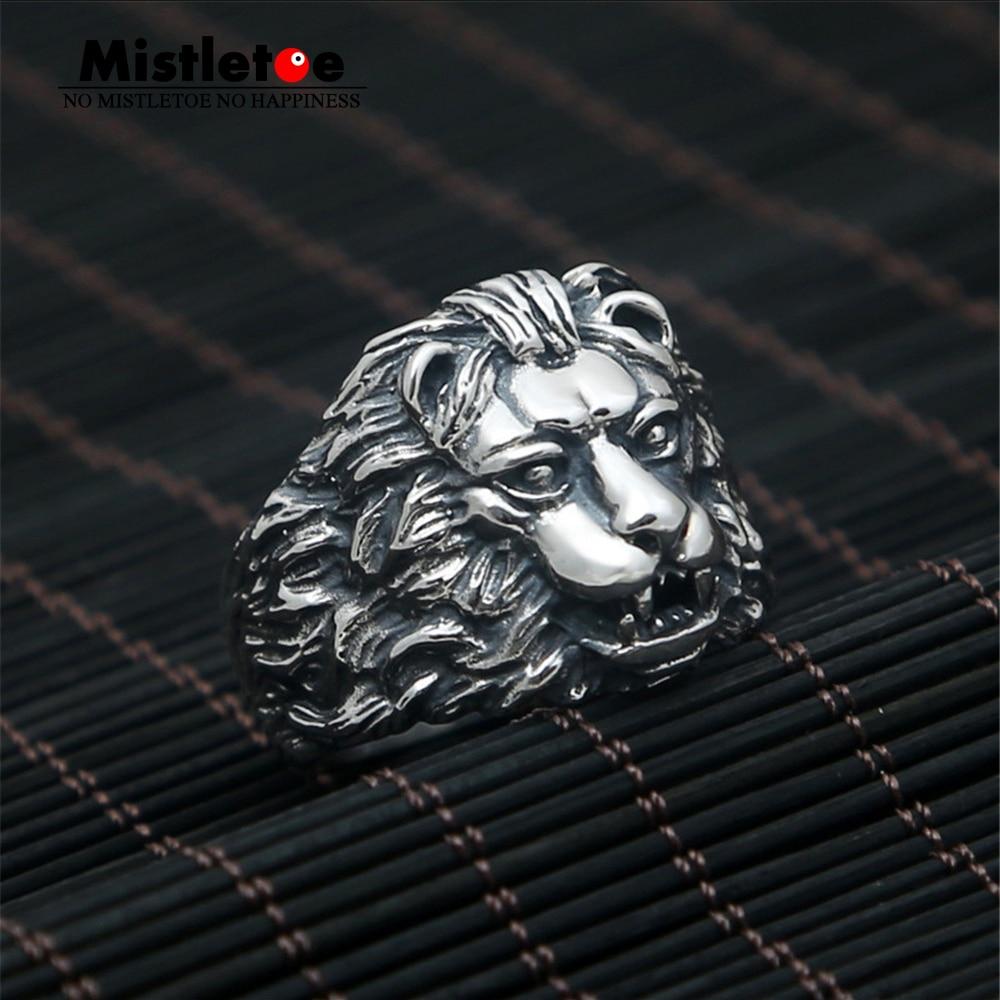 Genuine 100% 925 Sterling Silver Vintage Punk Locomotive Lion king Ring For Women Men Fashion Jewelry