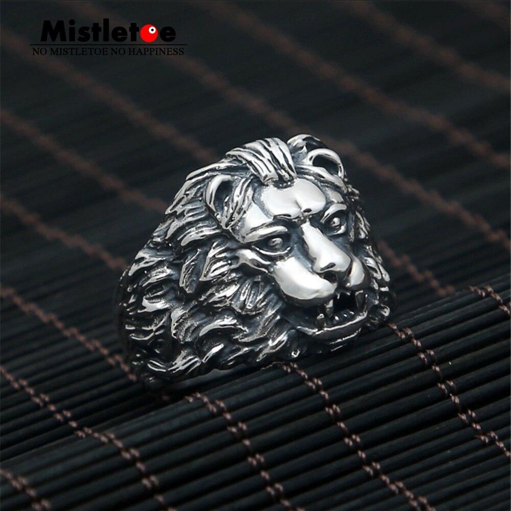 Véritable 100% 925 en argent Sterling Vintage Punk Locomotive Lion roi anneau pour femmes hommes bijoux de mode
