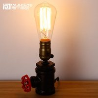 Vintage Industrial Wrought Iron Metal E27 Edison Steampunk Table Lights Retro Water Pipe Desk Lamps For Cafe Bar Bedside Bedroom